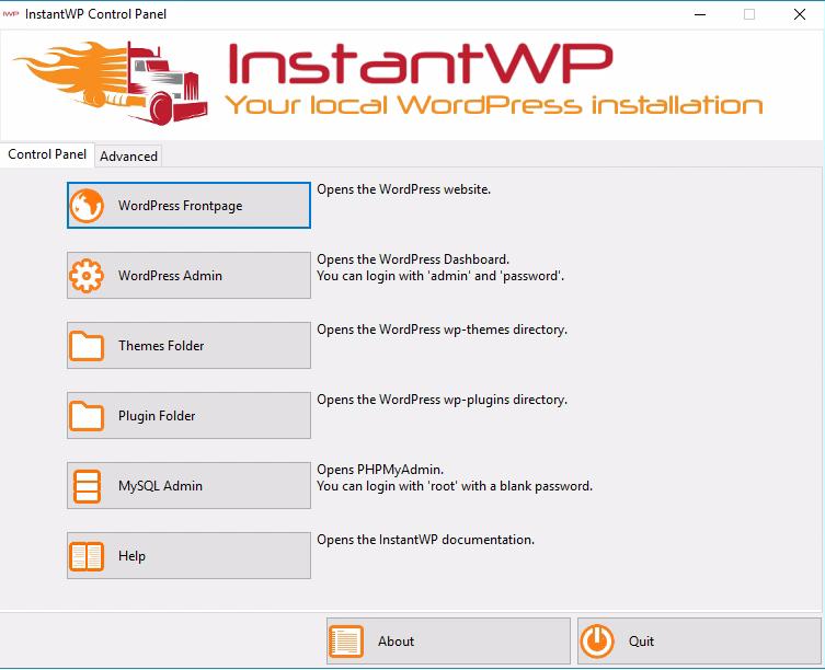 Instant WordPress screenshot