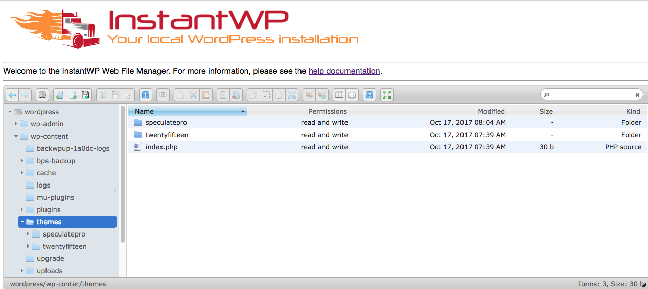InstantWP-Web-File-Manager - InstantWP